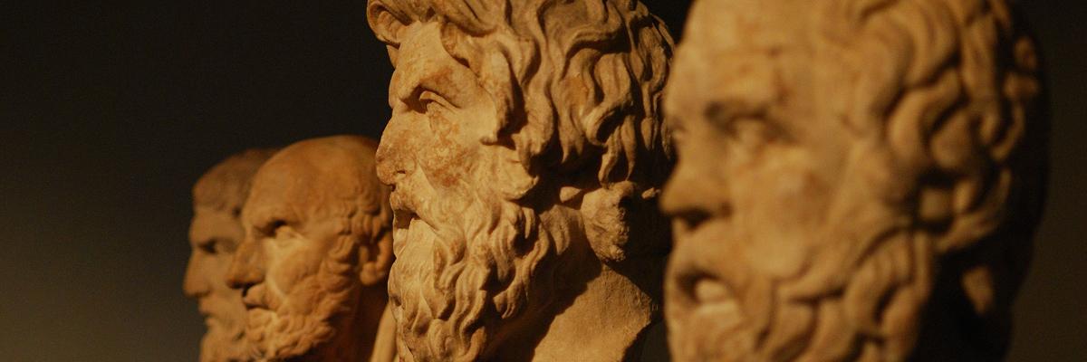 Greek philosophers (Socrates, Antisthenes, Chrysippus, Epicurus).
