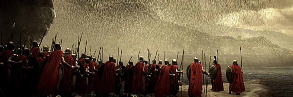 Atenas sitiada - cena do filem 300 de Zack Snyder (2007).