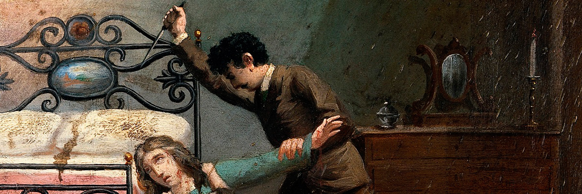 A man stabbing a woman with a stiletto. Oil painting by an Italian painter, 19th century.( autor desconhecido).