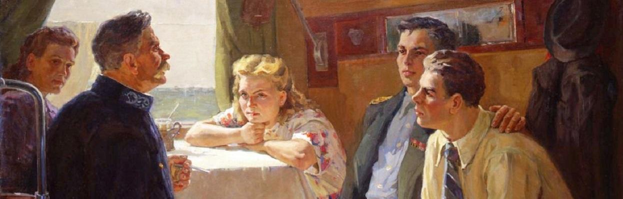 Zoya Samoilenko: Conversation in a Train Compartment (1923).