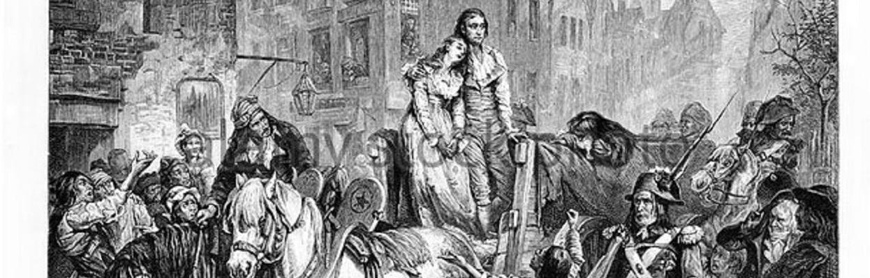 Madame Roland sendo levada para a guilhotina – por Laslett John Pott (1837-1898).