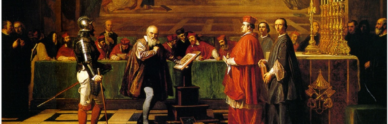 Galileo Galilei Before Members of the Holy Office in the Vatican in 1633 -By:Joseph-Nicolas Robert-Fleury (1847)